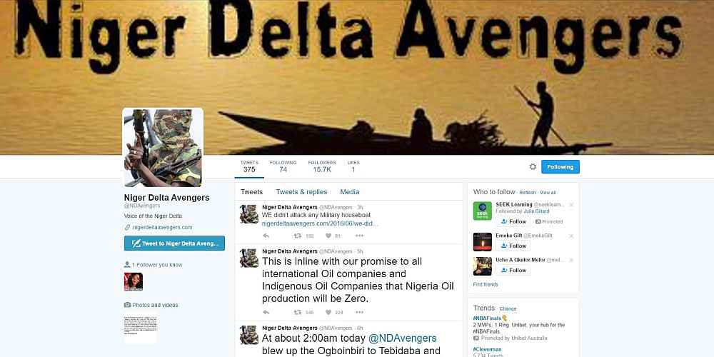 Niger Delta Avengers Twitter Account Suspended