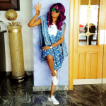 Toyin Aimakhu Rocks Short Denim Agbada & Sneakers