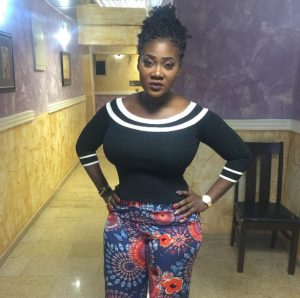 Mercy Johnson getting on set for a new movie