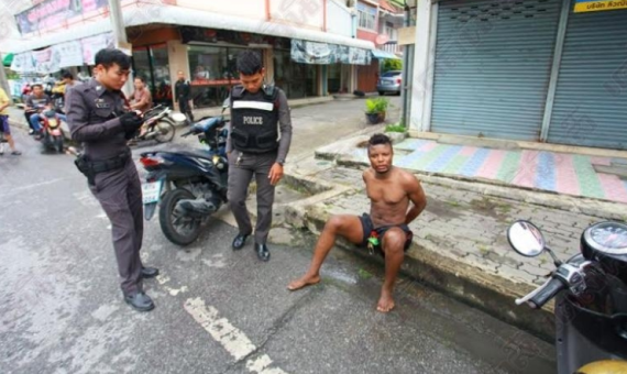 Nigerian Man Arrested In the Streets of Bangkok, Thailand After Wild 'Strange' Display