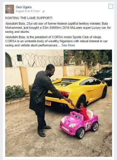 Son Of Ex-minister Allegedly Buys N900m Super Luxury Car