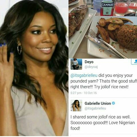 See How Hollywood Star, Gabrielle Union Praised Nigerian Jollof