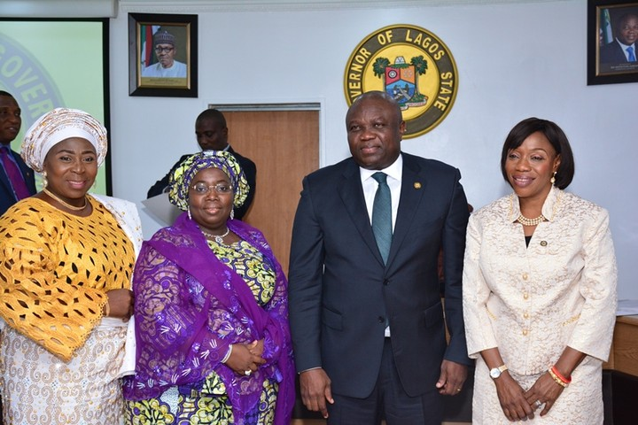 Lagos State Governor, Mr. Akinwunmi Ambode (2nd right); Deputy Governor, Dr. (Mrs.) Oluranti Adebule (2nd left), with the newly sworn-in Permanent Secretaries - Mrs. Toyin Idowu Awoseyi as PS, Civil Service Commission (right) and Mrs. Amudat Elizabeth Adekanye as PS/Tutor General, Education District V (left) during the Swearing-in of the Two Permanent Secretaries at the EXCO Chamber, Lagos House, Ikeja, on Wednesday, October 12, 2016