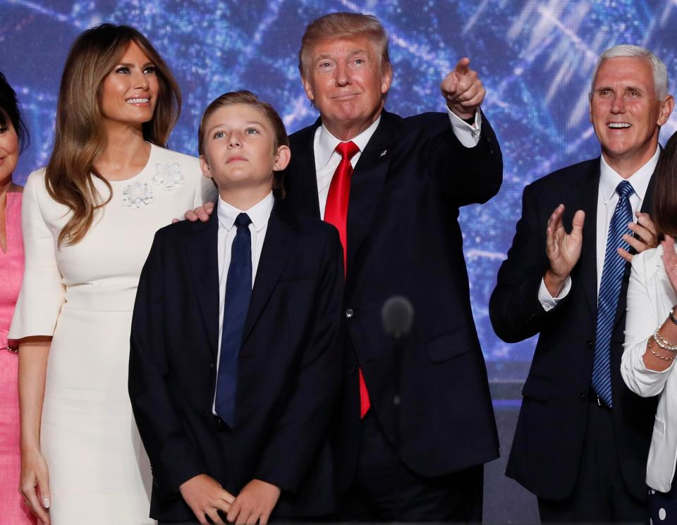 Donald Trump seen here at the the Republican National Convention in July with his son Barron, ten GETTY IMAGES