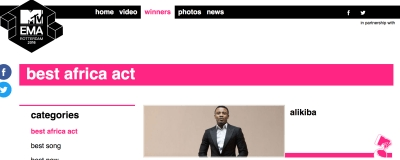 MTV EMA Withdraws 'Best African Act' From Wizkid; Awards It To Ali Kiba