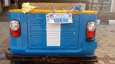 See The 'Convertible Keke NAPEP' Nigerian OAP Used For His Wedding [PHOTOS]