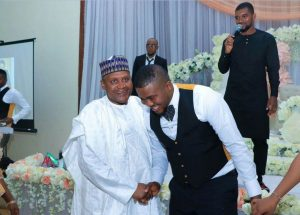 HUMILITY! Dangote Attends His Cement Distributor Son's Wedding