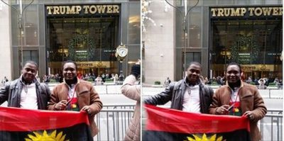 Pro-Biafrans Flaunt Their Flag At Trump Tower In New York