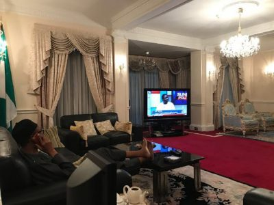 Buhari Phones Osinbajo While Watching Channels TV In London [PHOTOS]