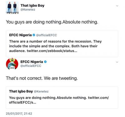 See EFCC's Response To Somebody That Said That They Are Doing Nothing