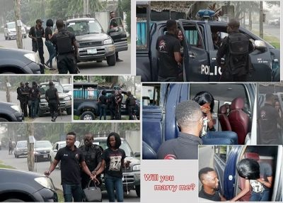 Man Proposes To His Girlfriend On The Road With The Help Of The Nigerian Police