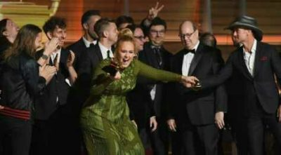 Adele Breaks Her Grammy Award Into Two, Gives The Other Half To Beyoncé [PHOTOS]