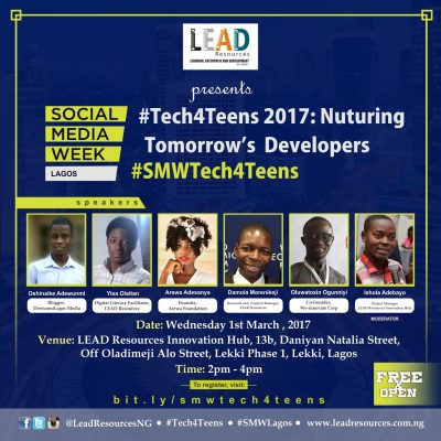 #SMWLagos: LEAD Resources' Innovation Hub To Host #Tech4Teens – See Details