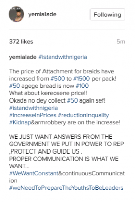 #iStandWithNigeria Attachment For Braids Have Increased From N500 To N1500 - Yemi Alade Reacts
