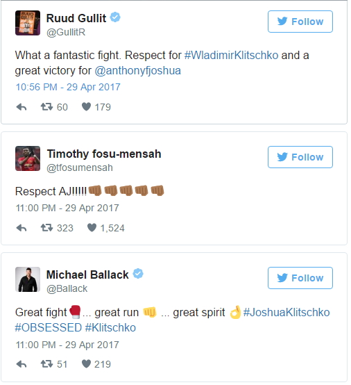 World Footballers React To Anthony Joshua KO Win Against Klitschko