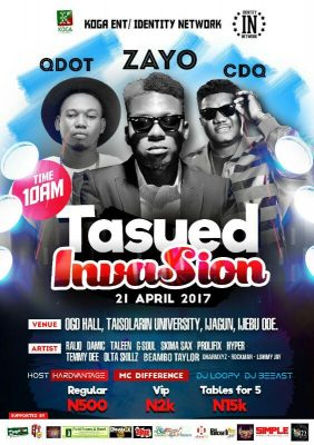 Zayo, CDQ, Qdot & Others For 'TASUED Invasion' On April 21
