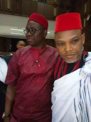 Fayose Hugs Nnamdi Kanu As Court Finally Grants Him Bail