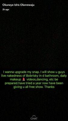Bobrisky Goes Premium, Followers Will Now View His Snap For N10k Monthly