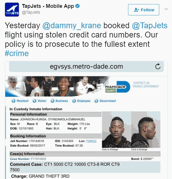 More Trouble For Dammy Krane As Jet Company Follows Up Theft Case