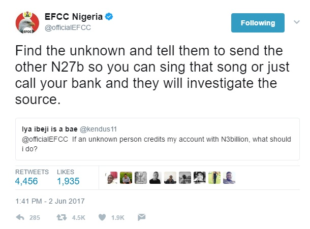 EFCC Cracks Us Again With Epic Reply To Twitter User