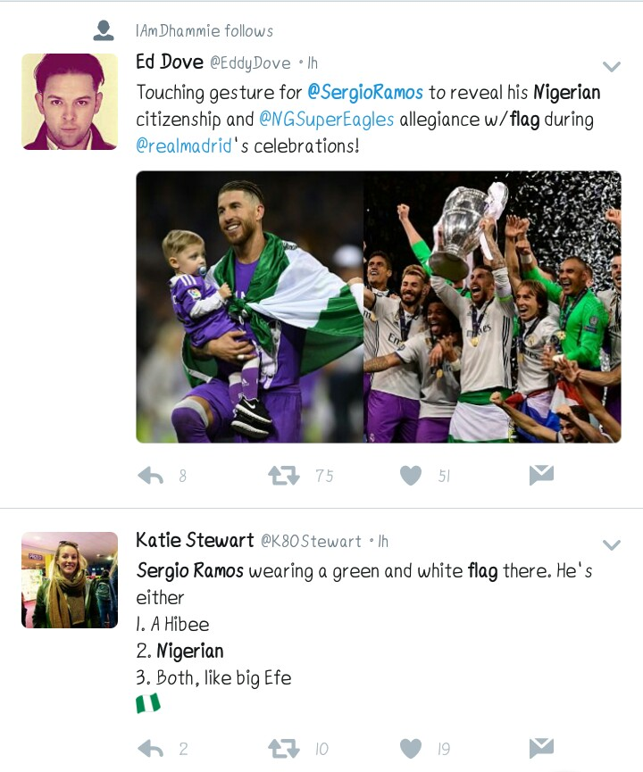 Confused! Twitter Asks, 'Why Is Sergio Ramos Wearing A Nigerian Flag?'