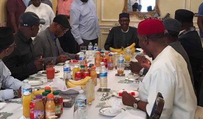 President Buhari Steps Out For Meeting At Abuja House In London