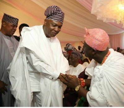 This Picture Of Ooni Of Ife 'Humbly' Greeting Bukola Saraki Got People Talking