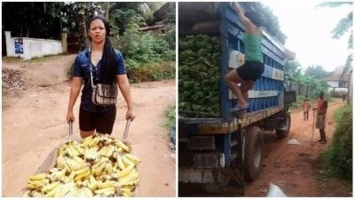 Hustle Game Tight! Lady Who Hawks Banana Also Travels By Air