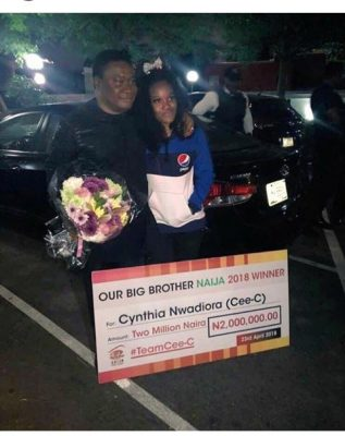 Cee-C gets 2 million naira