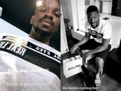 Tobi BBnaija goes shopping with little boy