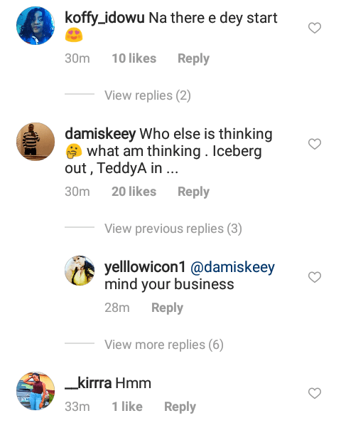 Instagram comments on Juliet Ibrahim and Teddy A photo