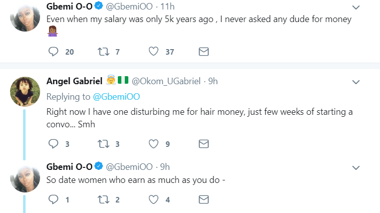Gbemi tweets on Guys dating girls in their income range
