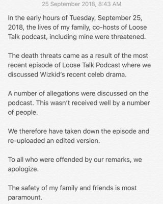 Osagie Alonge Deletes podcast on wizkid