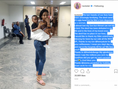 I almost lost my son 3 weeks ago - Tonto Dikeh