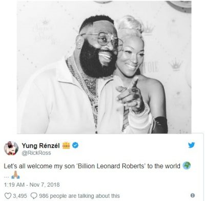 Rick Ross welcomes second child with Brianna Camille