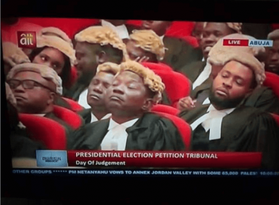 Checkout Viral Photo Of lawyers Sleeping At Presidential Tribunal