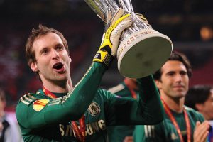 Cech with a trophy