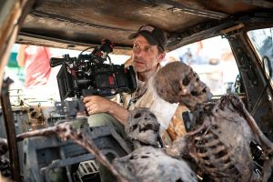 Snyder behind the camera on the set of Army of the Dead