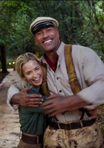 Emily Blunt and Johnson on the set of the movie