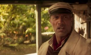 Dwayne Johnson as a riverboat captain in Jungle Cruise