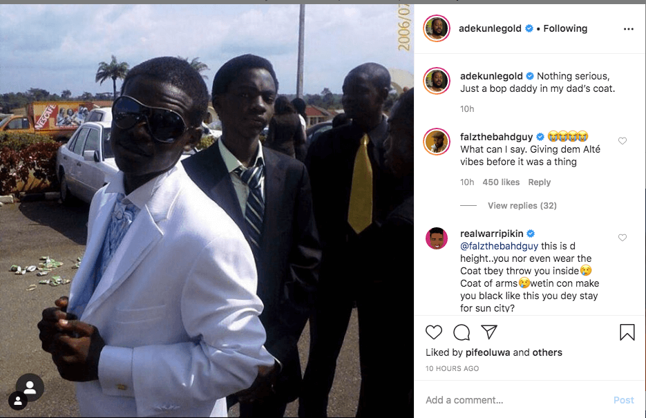 Throwback of Falz The Bahd Guy posted by Adekunle Gold