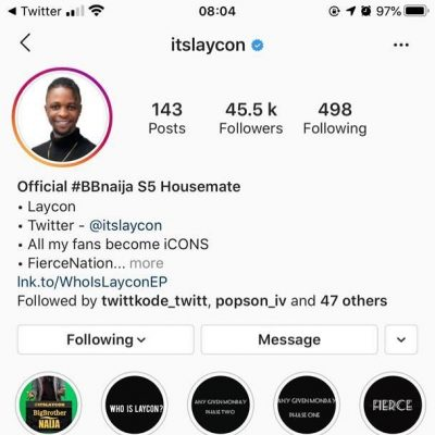 Laycon is the first BBNaija Season 5 housemate to be verified on Instagram