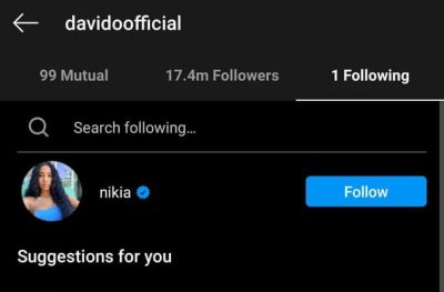 Nigerian Music Icon, Davido Follows Mystery Lady On Instagram Weeks After Unfollowing Everybody