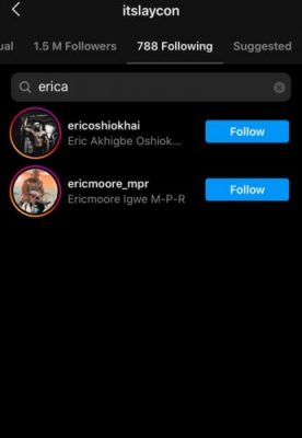 BBNaija: Laycon Unfollows Erica On IG After She Refuses To Follow Him