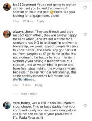 Ex-Big Brother Naija housemate, Tokunbo Idowu AKA TBoss has become a target of online bashing following the heavy shade she threw at the ongoing BBNaija housemate, Nengi for celebrating as Ozo won the 2020 Innoson IVM Caris. It was recalled that Ozo emerged winner of the Innoson challenge after several hours of intense memory test. After Biggie announced Ozo as the winner, his colleagues rushed to celebrate with him and cramped into the new car with Nengi jumping in the front seat. Reacting to Nengi's move after Ozo won the exotic whip, TBoss advised Ozo not to accommodate many people in his car especially those who say they don't like him but jump in the front seat. See screenshot of Tboss' post; Fans of Nengi did not take too likely TBoss' statement, so they took to social media to blast her.