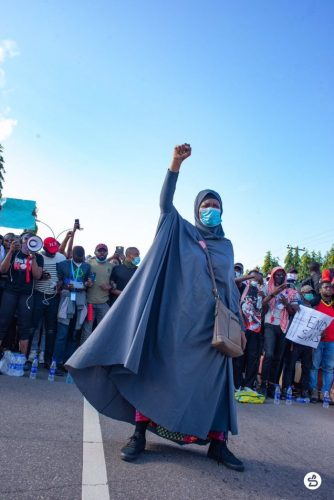 #SARSMustEnd: Aisha Yesufu And Her Legendary Pose 'Ginger' Protesters