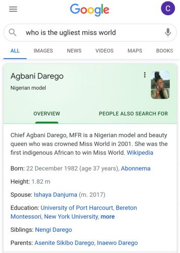 Nigerians Challenge Google For Listing Agbani Darego As 'Ugliest Miss World'