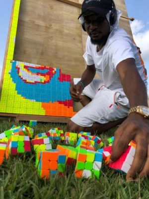 Talented Artist Makes A Portrait Of Davido With Rubik's Cubes